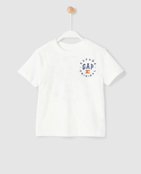 Gap - Camiseta De Niño En Blanco Con Print