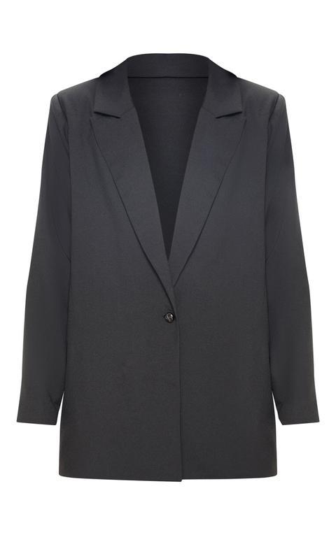 Blazer Noir Tissé Oversize Style Dad, Noir