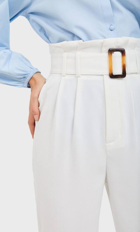 Pantalón Paperbag Cinturón Efecto Carey