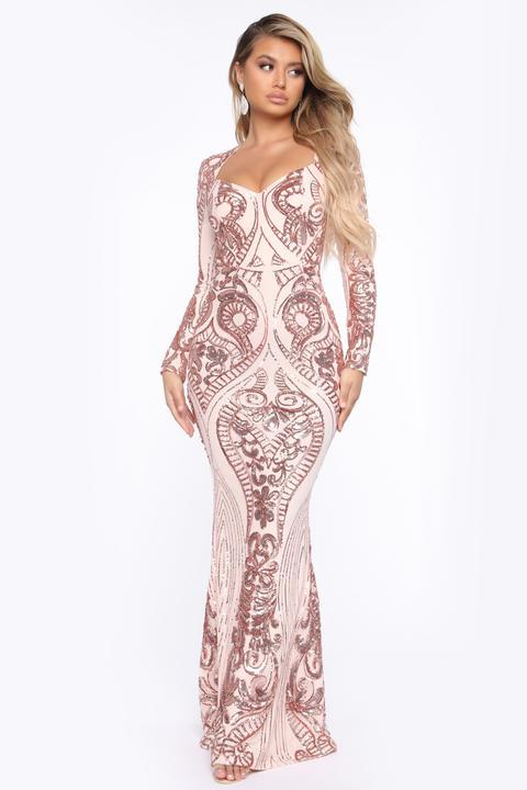Queen Vibes Sequin Mermaid Gown - Rose Gold de Fashion Nova en 21 Buttons