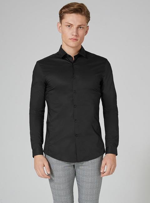 Mens Black Stretch Skinny Smart Shirt, Black