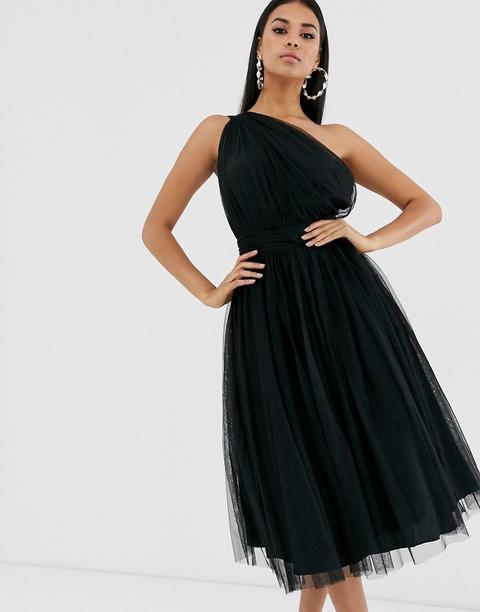 Vestido Midi Asimétrico De Tul De Asos Design-negro