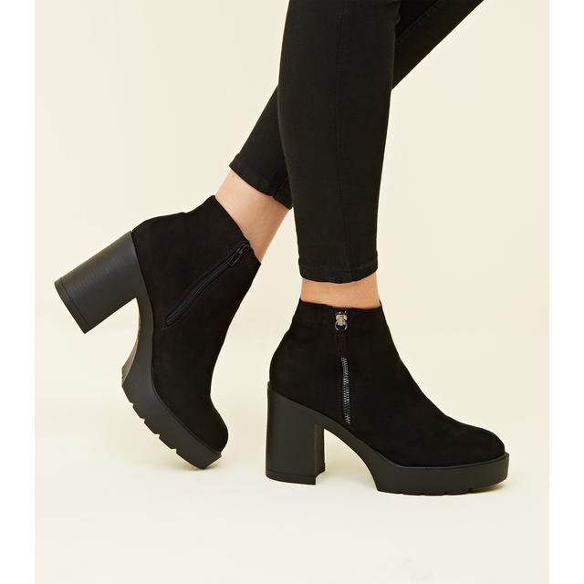 Black Suedette Zip Side Chunky Heel