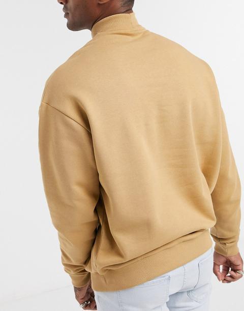 Asos Design Oversized Sweatshirt With Turtle Neck In Beige