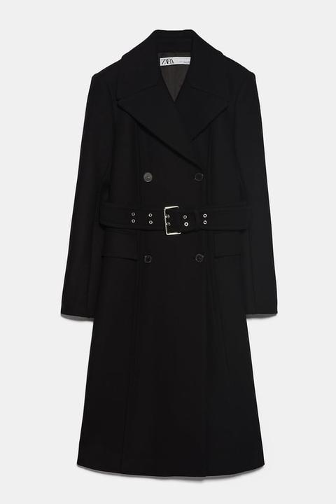 Abrigo Cruzado Cinturón de Zara en 21 Buttons