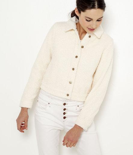 apparence élégante prix magasin Veste Courte Maille Bouclette Femme from Camaïeu on 21 Buttons