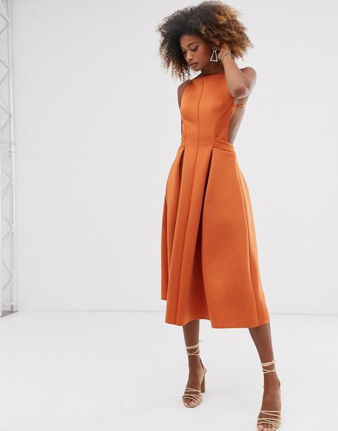 Vestido De Graduación Midi Con Diseño Plisado Y Cuello Subido De Asos Design-naranja