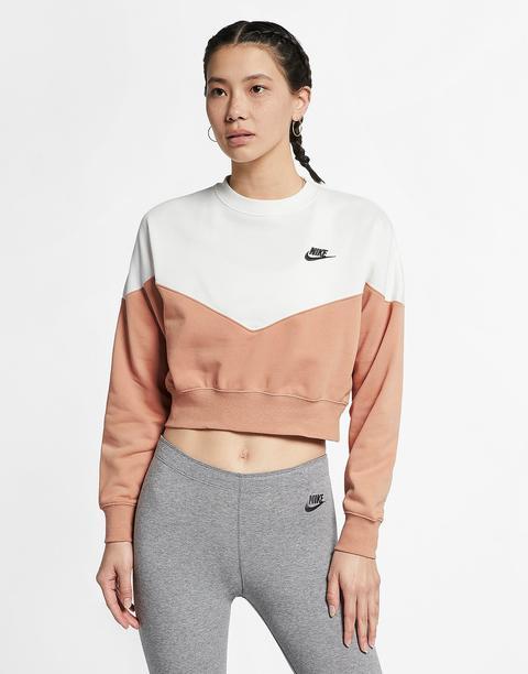 Vandalir Saqueo acantilado  Nike Heritage Colour Block Crop Crew Sweatshirt - Rose Gold - Womens from  Jd Sports on 21 Buttons