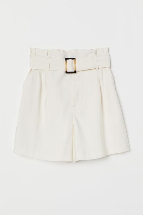 H & M - Pantalón corto paper bag hm blanco
