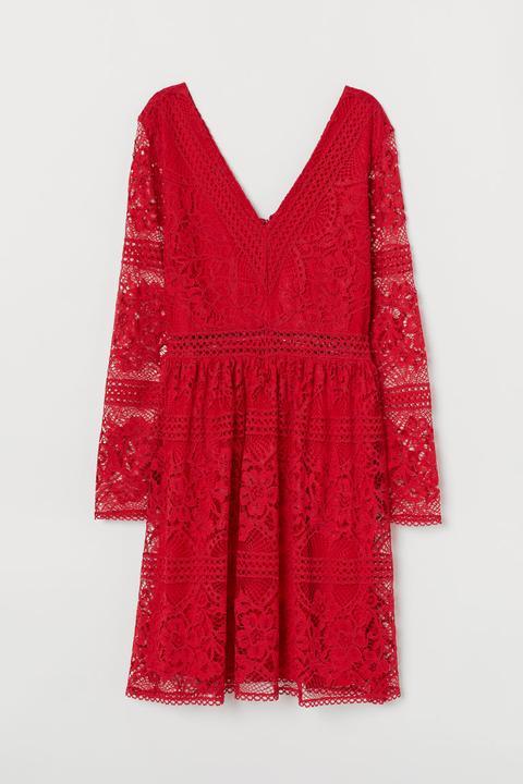Vestido De Encaje Escote En V - Rojo de H&M en 21 Buttons
