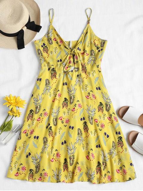 Vestido De Tirantes Con Lazo Floral Yellow