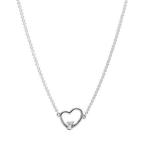Collar En Plata De Primera Ley Corazón De Amor Asimétrico