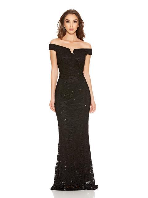 Black Sequin Lace Bardot Fishtail Maxi Dress De Quiz En 21 Buttons
