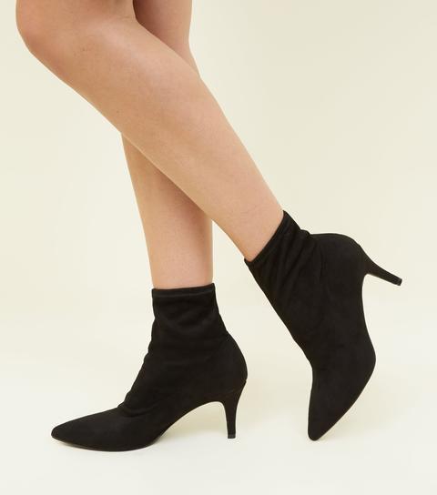 Black Suedette Kitten Heel Sock Boots