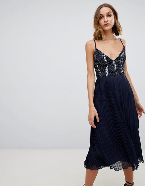 Vestido Con Parte Superior Con Adornos Y Falda Plisada En Azul Marino De Lace & Beads de ASOS en 21 Buttons