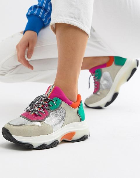 Bronx - Sneakers Spesse Scamosciate Con Colori Accesi Metallizzati - Multicolore