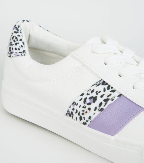 White Leopard Print Side Stripe