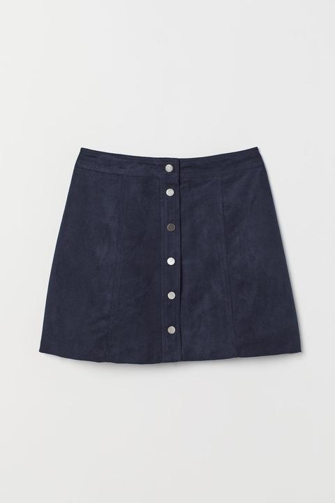 6d6a8f95400597 H & M - Jupe Trapèze - Bleu from H&M on 21 Buttons