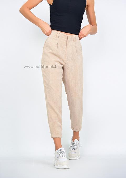 c8437aa21f830 Pantalon Beige En Velours Côtelé from Outfitbook on 21 Buttons