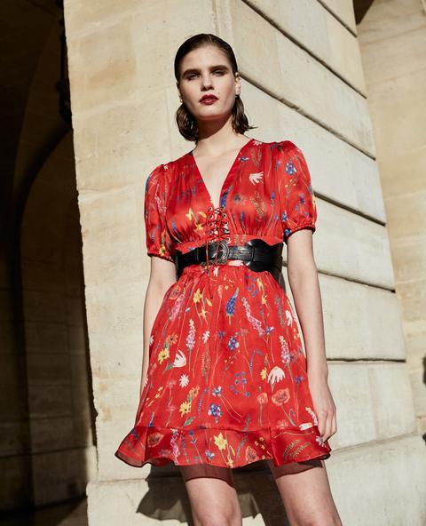Vestido Corto Rojo Con Estampado Floral - Mujer de The Kooples en 21 Buttons