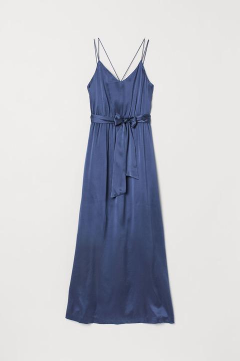 Vestido Largo De Seda - Azul de H&M en 21 Buttons