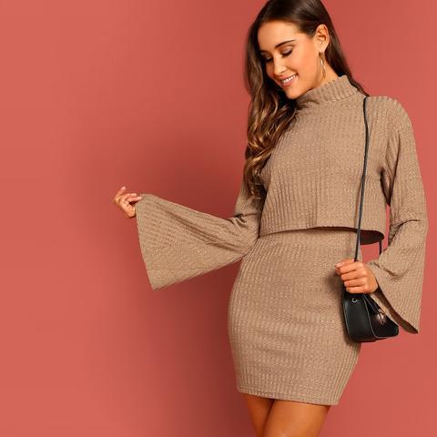 Rib-knit Bell Sleeve Pullover & Skirt Set