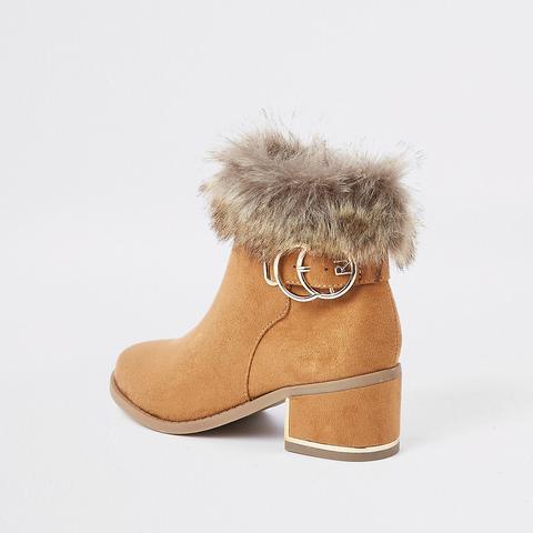 Girls Tan Faux Fur Cuff Boots from
