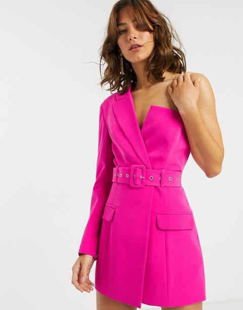 Americana Larga Y Asimétrica Con Cinturón De Asos Design-rosa de ASOS en 21 Buttons