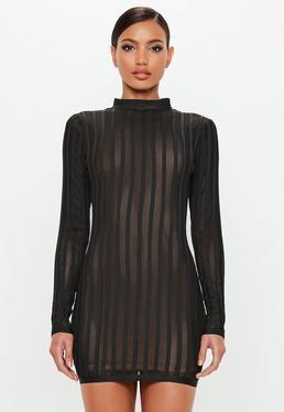 Peace + Love Vestido Ajustado Con Transparencias De Bandage En Negro de Missguided en 21 Buttons