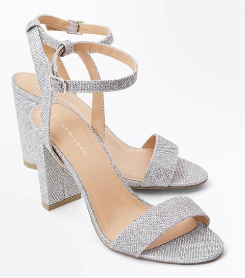 Silver Glitter Block Heel Sandals New