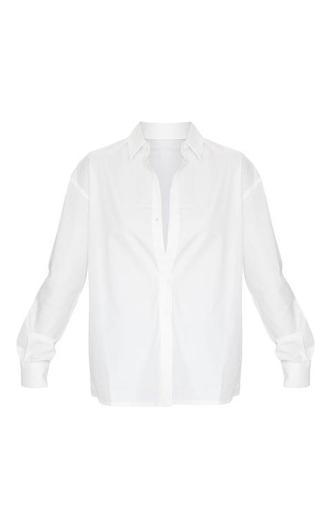 Chemise Blanche En Coton Oversized À Boutons, Blanc