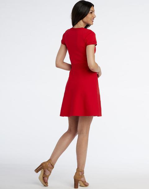 Vestido Naf Naf Mujer Mini De Corte Evasé, Y Manga Corta Elástico Con Cintura Ajustada Con Detalle De Diferente Tejido