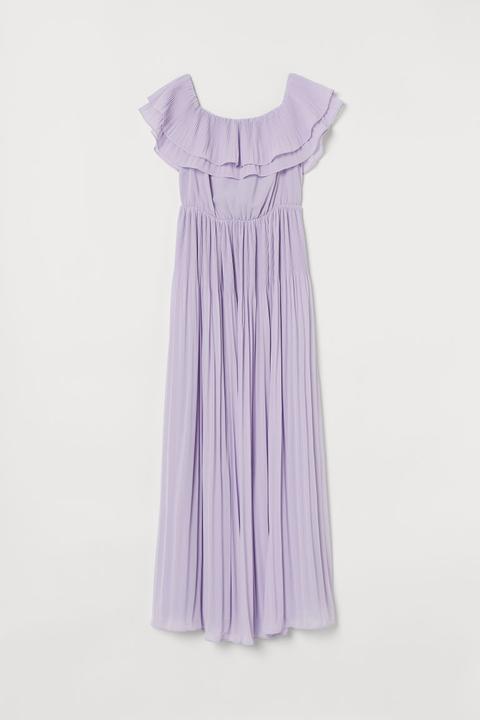 Vestido Largo Plisado - Púrpura