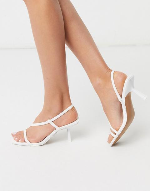 Asos Design - Hammond - Sandales À Talons Mi-hauts Et Lanières - Blanc