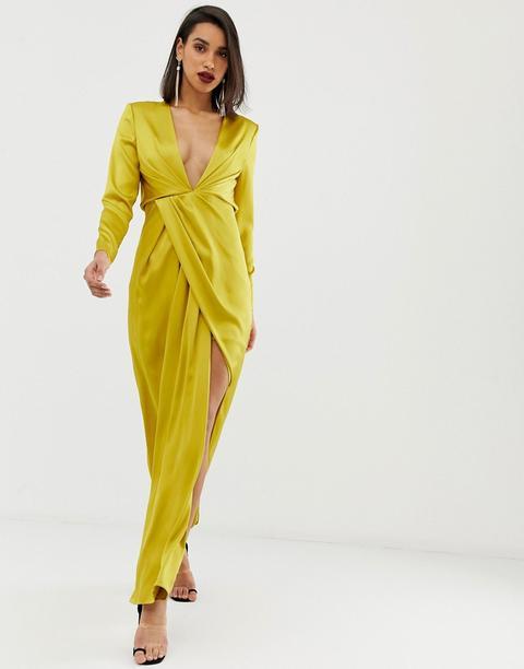 Vestido Largo De Satén Con Escote Y Abertura Lateral De Asos Edition de ASOS en 21 Buttons