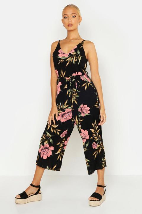 100% hohe Qualität neu billig billig zu verkaufen Culotte-jumpsuit Mit Tiefem Ausschnitt Und Blumen- Und Palmenmuster from  Boohoo on 21 Buttons