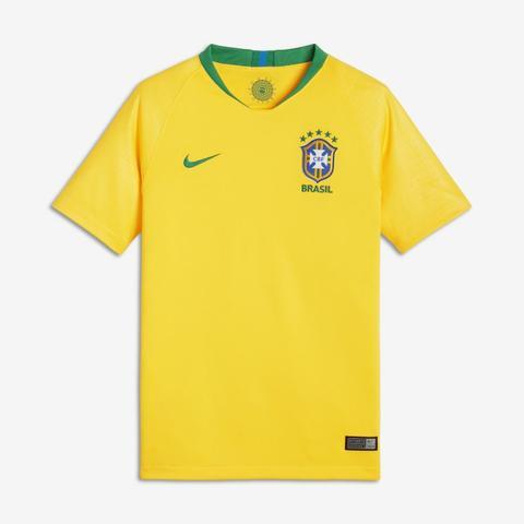 2018 Brasil Cbf Stadium Home Camiseta De Fútbol - Niño/a - Oro