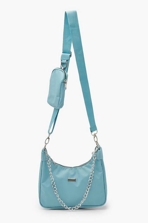 Petit Sac À Bandoulière Multi-positions En Nylon - Bleu Layette - One Size, Bleu Layette