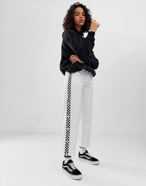 Pantalones De Pernera Ancha En Blanco Con Cinta De Cuadrícula De Vans de ASOS en 21 Buttons