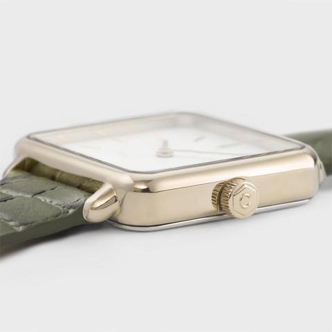 La Tétragone Leather, Gold, White/green Alligator