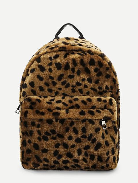 später heißer verkauf billig beste Qualität Rucksack Mit Kunstfell Und Leopardenmuster from Romwe on 21 Buttons
