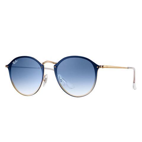 Blaze Round Unisex Sunglasses Verres: Bleu, Monture: Or