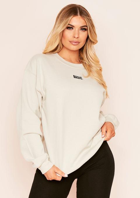 Ariana Sand Basic Slogan Oversized Sweatshirt