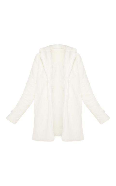 Petite Cream Faux Fur Coat