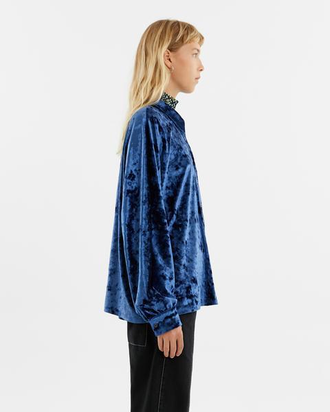 Camisa Terciopelo Azul