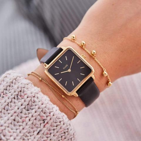 La Tétragone Leather Black, Gold Colour