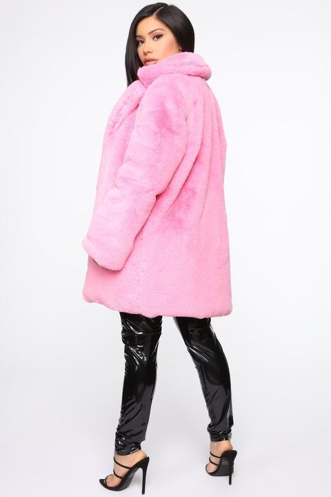 rosa fake fur jacke kapuze