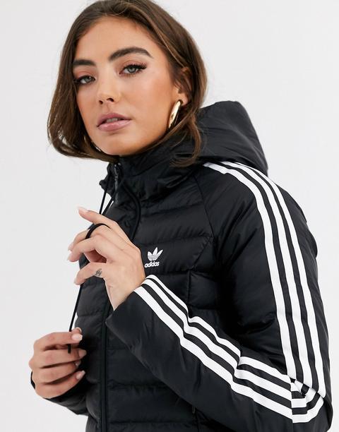 Chaqueta Acolchada Negra Con Diseño Entallado Y Tres Rayas De Adidas Originals-negro de ASOS en 21 Buttons