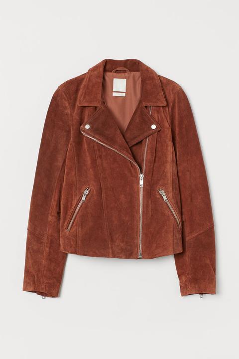 Cazadora Motera De Ante - Naranja de H&M en 21 Buttons