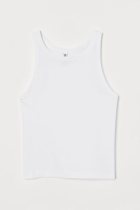 Cotton Vest Top - White
